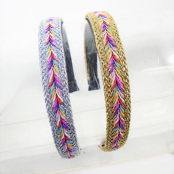 """1"""" Gold & Silver Headbands w/ Multi Color Center .54 each"""