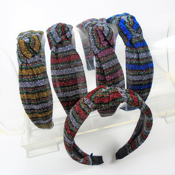 "1.5"" Soft Fabric Headbands w/ Knot Multi Color Sparkle  .56 ea"