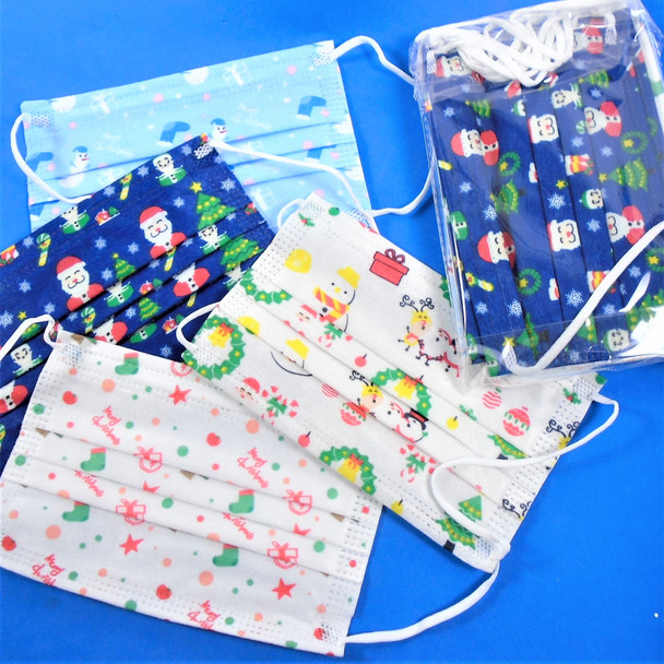 Kid Disposable Christmas Theme Protective Masks  50 pcs per bx .08 each