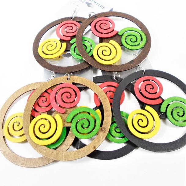 """3"""" Wood Earrings Round w/ Rasta Swirls  3 colors .54 per pair"""