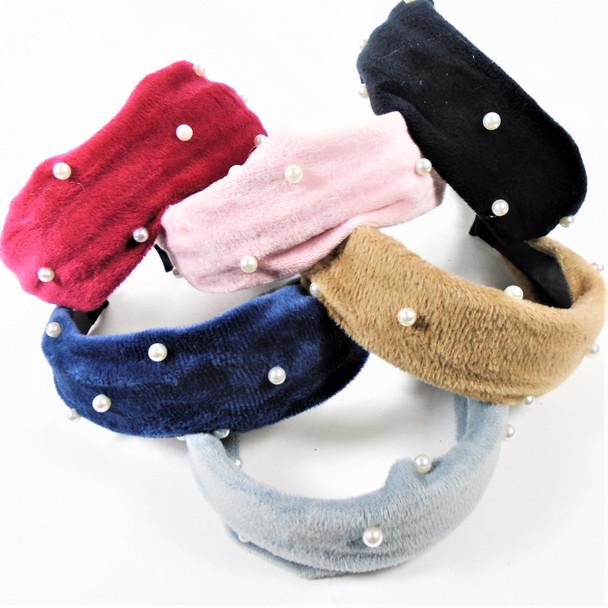 """1.5"""" Wide Soft Velvet Feel Fashion Headbands w/ Knot & Pearls   .56 each"""