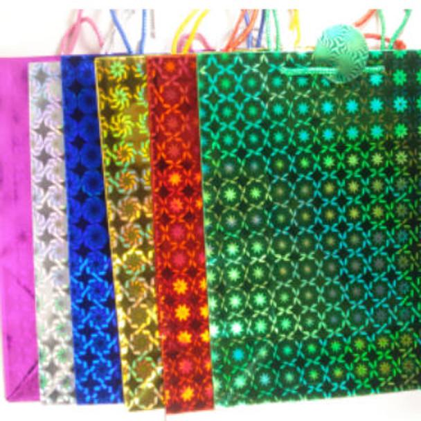 "Hologram Gift Bag X-Large Size 1.5"" X 18"" Asst colors .56 ea"