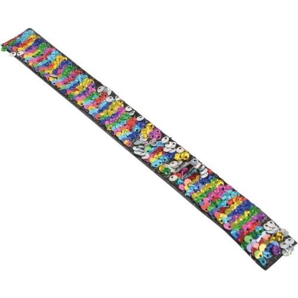 Rainbow  Sequin Slap Bracelets 24 per box  .60 ea