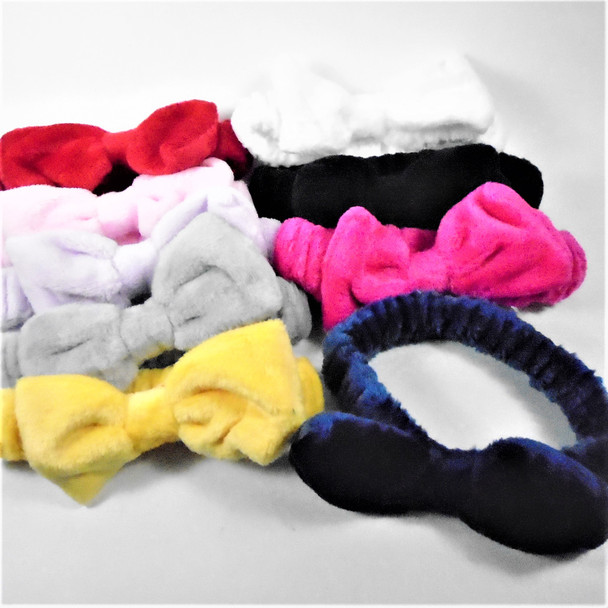 Trending SPA Stretch Headband w/ Bow Faux Fur Feel Mixed Solid Colors .58 each