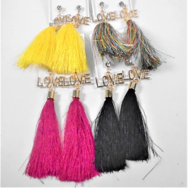 """4"""" LOVE Theme Fringe Fashion Earrings  8 colors  .56 per pair"""