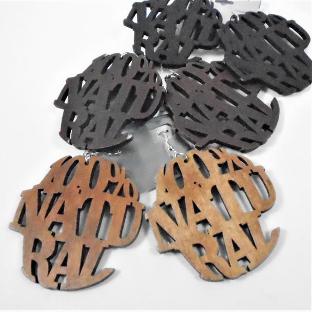 "3"" 100% Natural Saying Fashion Wood Earrings  .58 per pair"