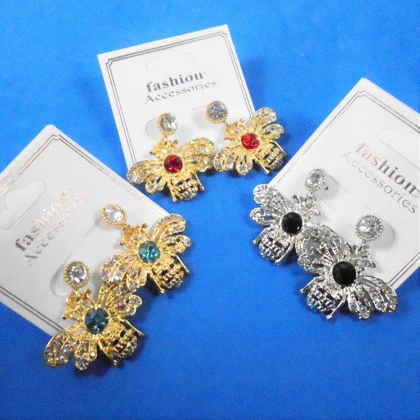 Cast  Gold & Silver Bumble Bee Earrings w/ Mini Crystals  .58 per pair