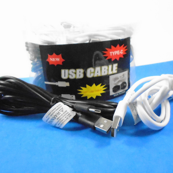 SPECIAL 10 FT USB Cable  TYPE-C  12 per can display $ 1.50 each