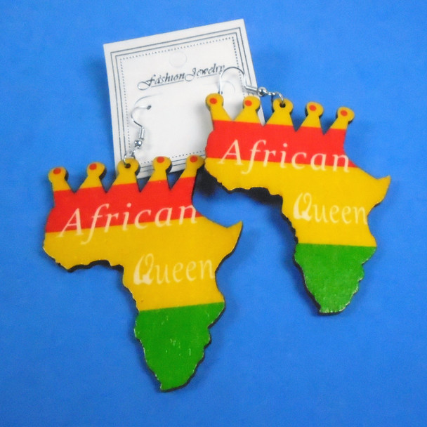 """3"""" Rasta Color African Queen Map Wood Earrings    .54 per pair"""
