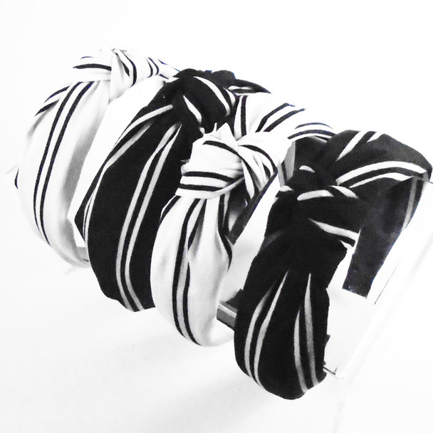 "1.5"" Classy Look Blk & White Striped Headbands w/ Knot  .56 each"