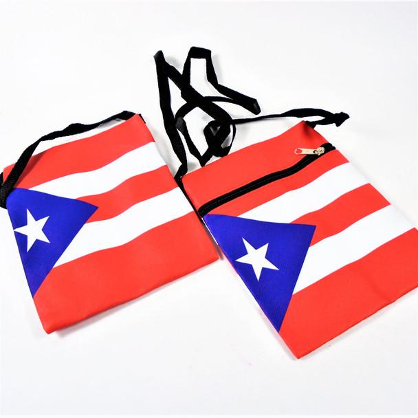 "5"" X 7"" Puerto Rico Flag Vinyl Zipper Bag w/ Strap .62 each"
