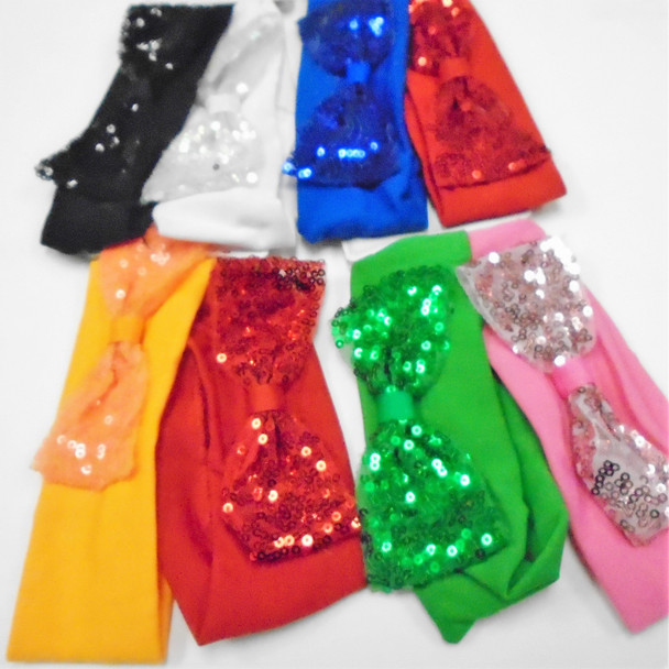"""2 Pack 2"""" Stretch Headwraps w/ 4"""" Sequin Bow  Mixed Colors  .56 per set"""