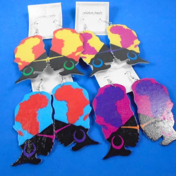 """3"""" Colorful Funky Lady Wood Earrings w/ Map in Hair   .54 per pair"""
