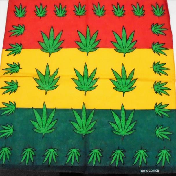 "20"" Square Rasta Color 100% Cotton Leaf Theme Bandanas  .56 each"