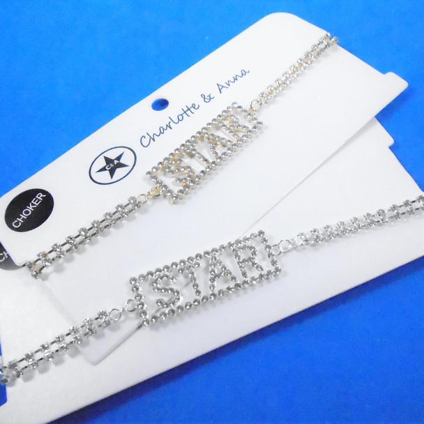 Rhinestone Choker Necklace w/ Crystal Stone STAR Plaque  .60 ea