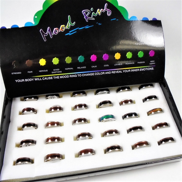 """""SPECIAL Changing Color Mood Band Rings 36 per display ONLY  .39 each"
