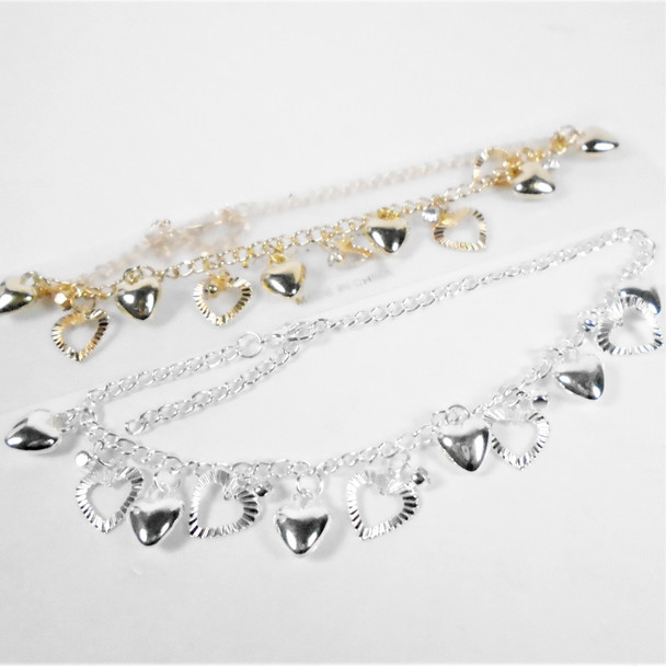 Gold & Silver Chain  Anklets w/ Dangle Hearts & Cry. Stone   .56 ea
