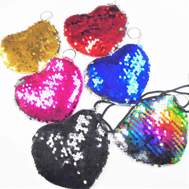 """5"""" Zipper Heart Shaped Sequin Change Color Bag w/ Lg. Strap  .60 each"""
