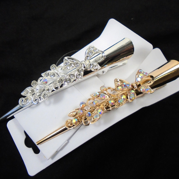 """5"""" Metal Gold & Silver Salon Clips w/ Crystal  Stones Bow Style   .58 each"""
