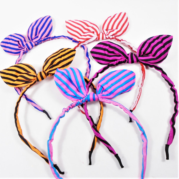 "Trending Thin Fashion Headbands  w/ 5"" Bow  Stripe Pattern  .56 each"