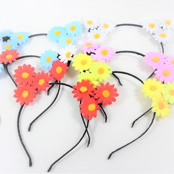 Trending Thin Fashion Headbands  Loaded w/ Daisy Flowers  .56 each