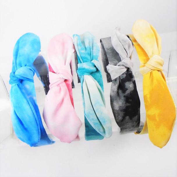 """TRENDING 1.5""""  Tye Dye Color Headbands w/ Knot & Wire Bow on Top    .58 ea"""