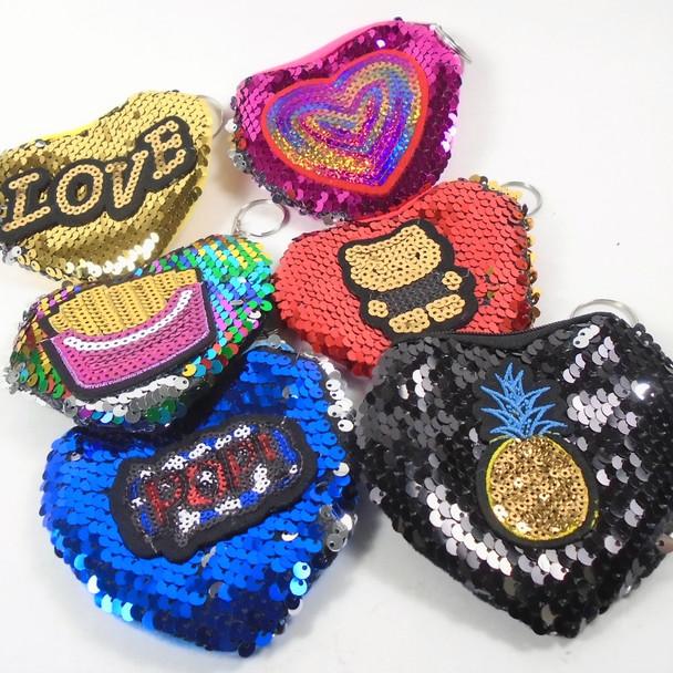 """4"""" Change Color Sequin Zipper Bag w/ 3-D Raised Logo .62 ea"""