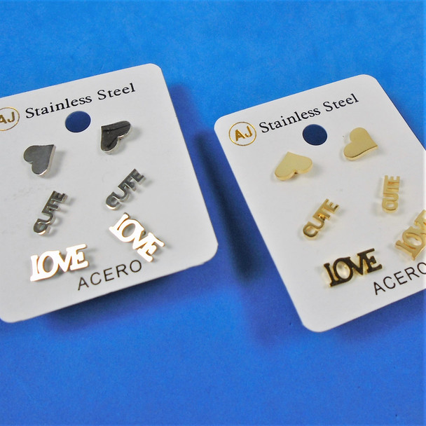 3 Pair Gold & Silver Stainless Steel Earrings - Love/Cute Theme  .58 per set