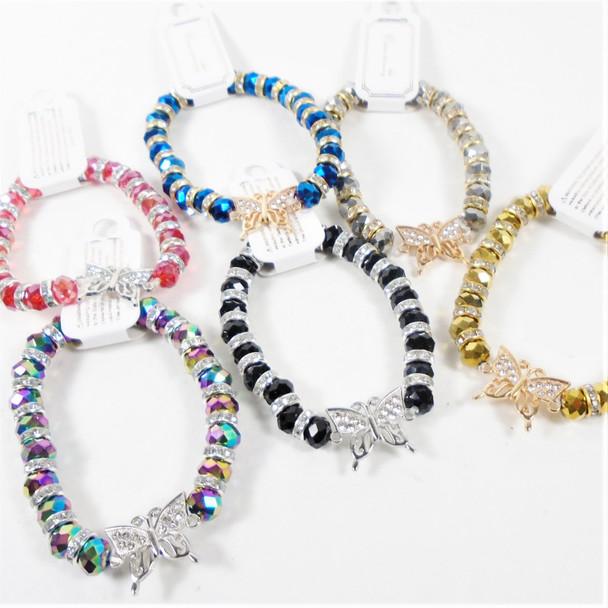 Crystal Beaded Bracelet w/ Cry. Stone Butterfly .60 each