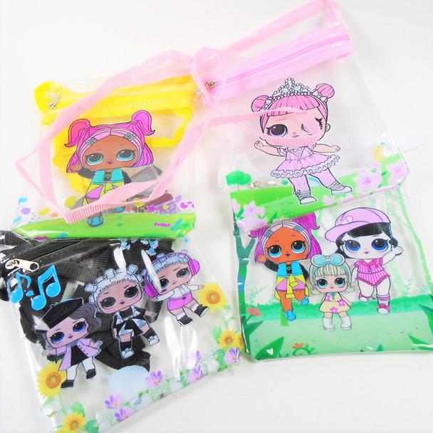 "5"" X 6"" Transparent Zipper Kids Bag w/ Long Strap Mixed Styles  .58 ea"