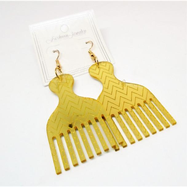 "2.75"" Acrylic Gold Mirror Hair Pic Style Earrings .54 per pair"