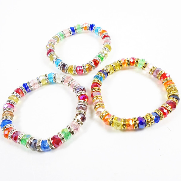 Multi Color Stretch Crystal Beaded Fashion Bracelets .58 each