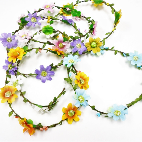 Asst Color Flower Halo w/ Wire 12 per pk  .56 each