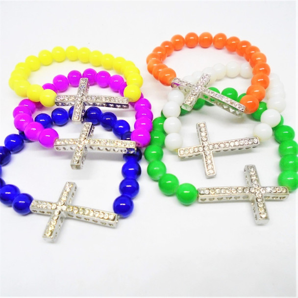 Glass Beaded Stretch Bracelet w/ Crystal Stone Cross  .50 ea