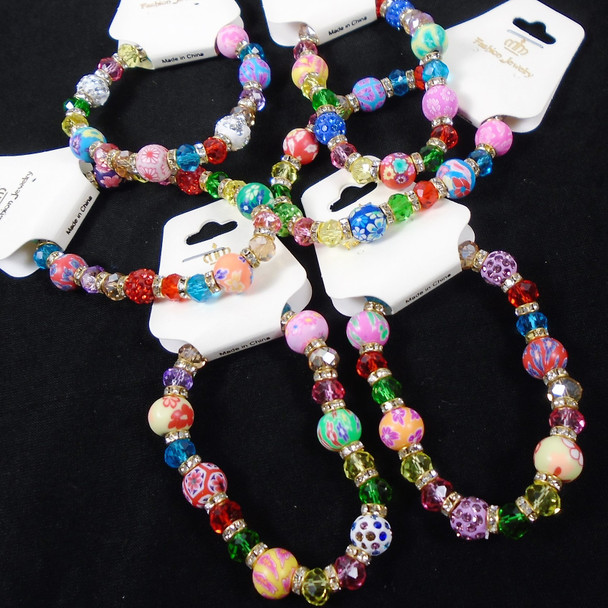 Colorful Fimo,Crystal & Fireball Bead Stretch Bracelet  .60 ea