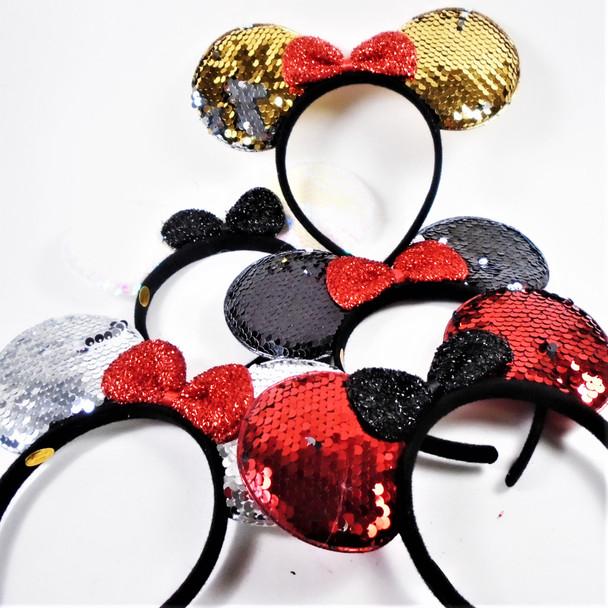 Big Sequin Change Color Mouse Ear Headbands w/ Bow  .62 each