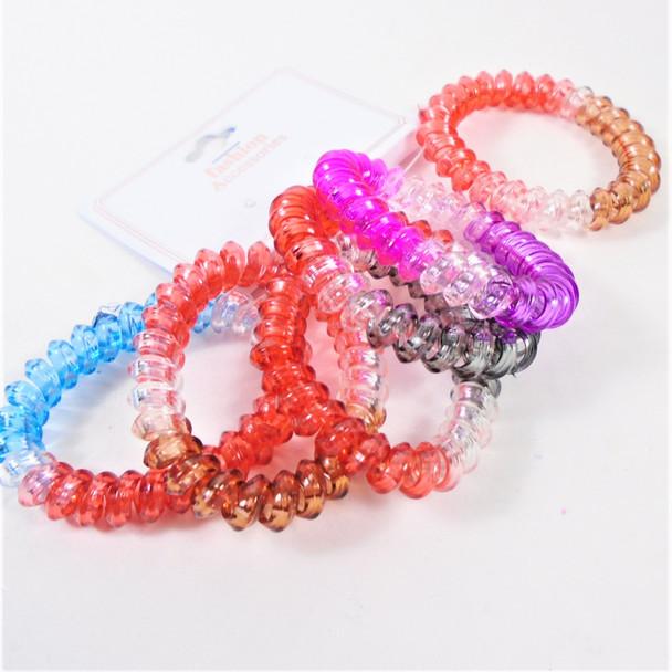 6 Pk Phone Cord Style Bracelet/Ponytailers  Multi Color   .58 per set