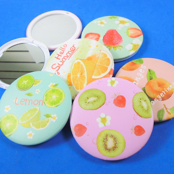 Fruit Theme Round DBL Compact Mirror in Display (1002)  .60  ea