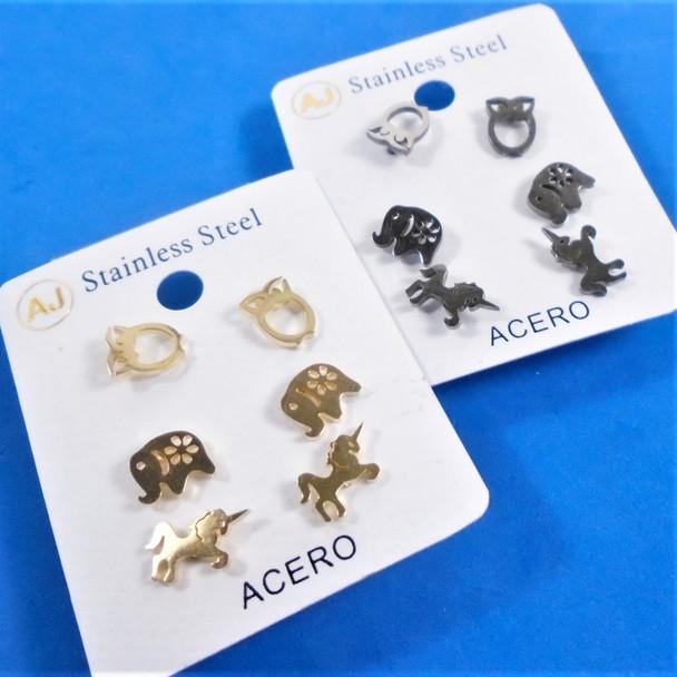 3 -Pair Gold & Silver Stainless Steel Earrings Owl.Elephant,Unicorn .58 per set