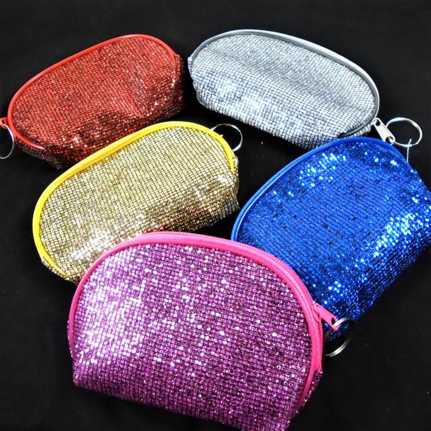 """3.25"""" X 5"""" Bling Zipper Sequin Coin Bag w/ Key Chain  .58 each"""