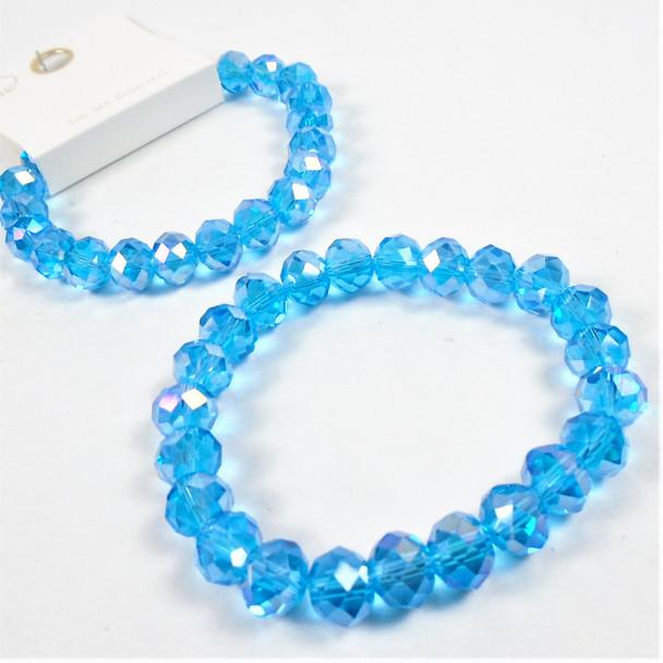 10MM Aqua Blue Color Crystal Bead  Stretch Bracelets 12 per pk .65 each