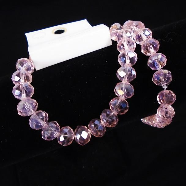 10MM Shiney Lite Pink Bead  Stretch Bracelets 12 per pk .60  each