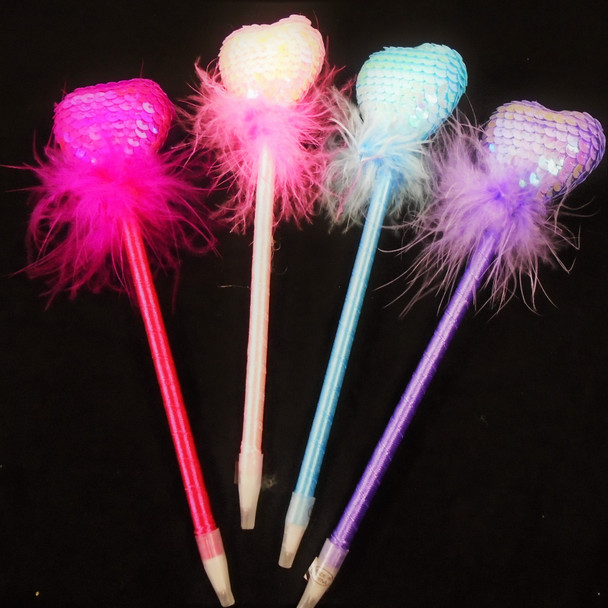 "8"" Princess Fury Pen w/ Sequin Hearts Light Colors 12 per pk  .60 each"