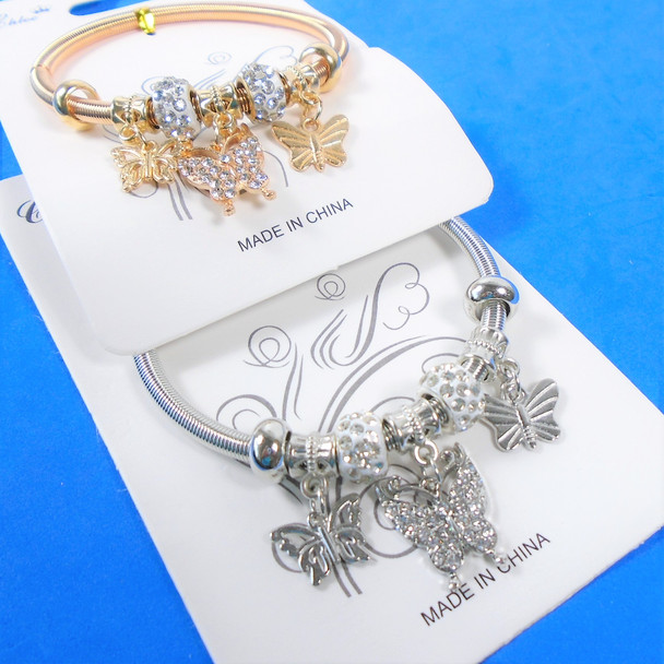 Gold & Silver Spring Style Beaded Bracelet w/Cry. Stone Butterfly Charm  .60  ea