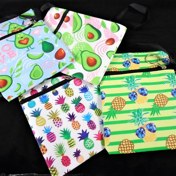 """5.5"""" X 7"""" Pineapple/Avocado Theme Zipper Bag w/ Lg Strap  .58 ea"""
