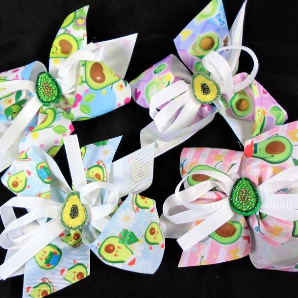 """6"""" Avocado Theme Gator Clip Bows  Mixed Styles  .54 each"""