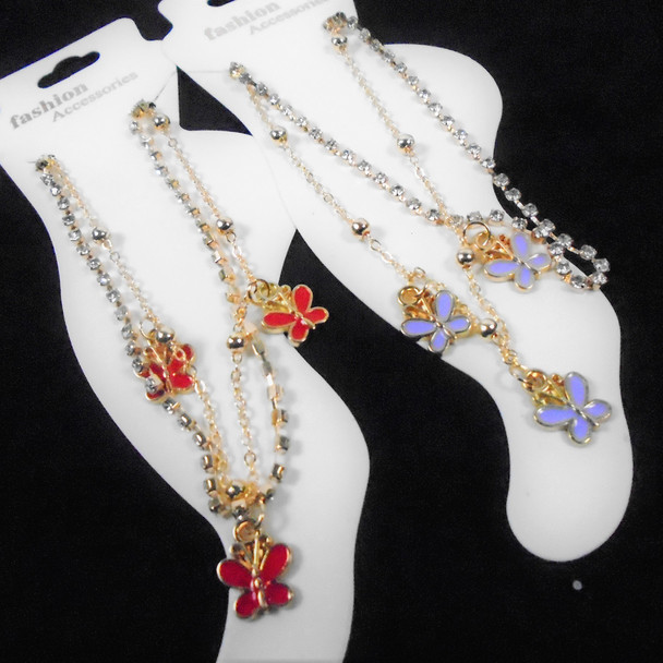 Gold & Silver 2 Line Chain Anklets w. Dangle Colored Butterflys  .58 each
