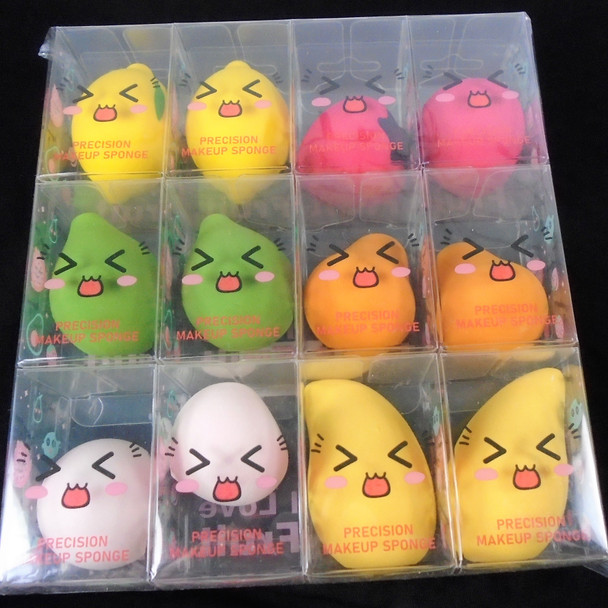 "2"" Asst Color Fruit Shaped Make Up Sponges  12 per pk  .58 ea"