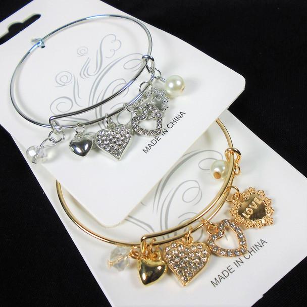 Gold & Silver Wire Bangle Bracelet w/ Multi Heart Theme   .58  each