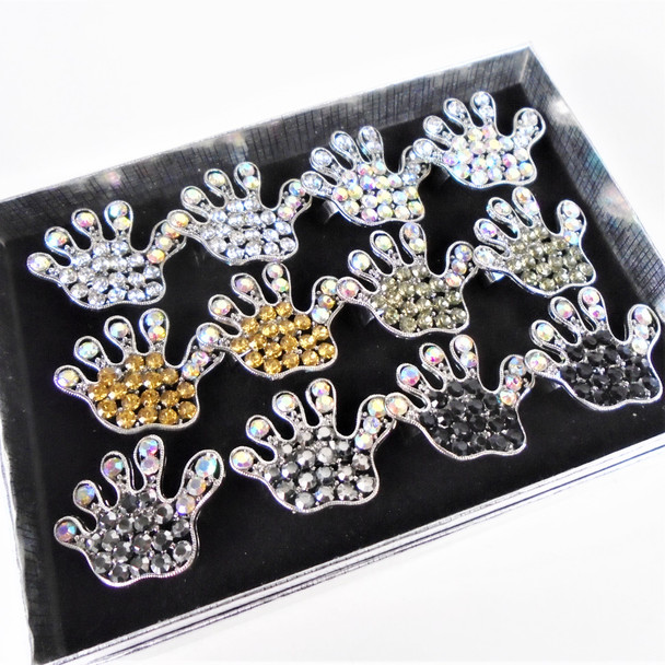 Crystal Stone Hand Theme Fashion Rings Asst Colors  12 per bx  .58 ea